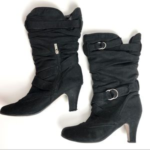 Black Faux Suede Zip-Up Mid-Calf Heeled Boots